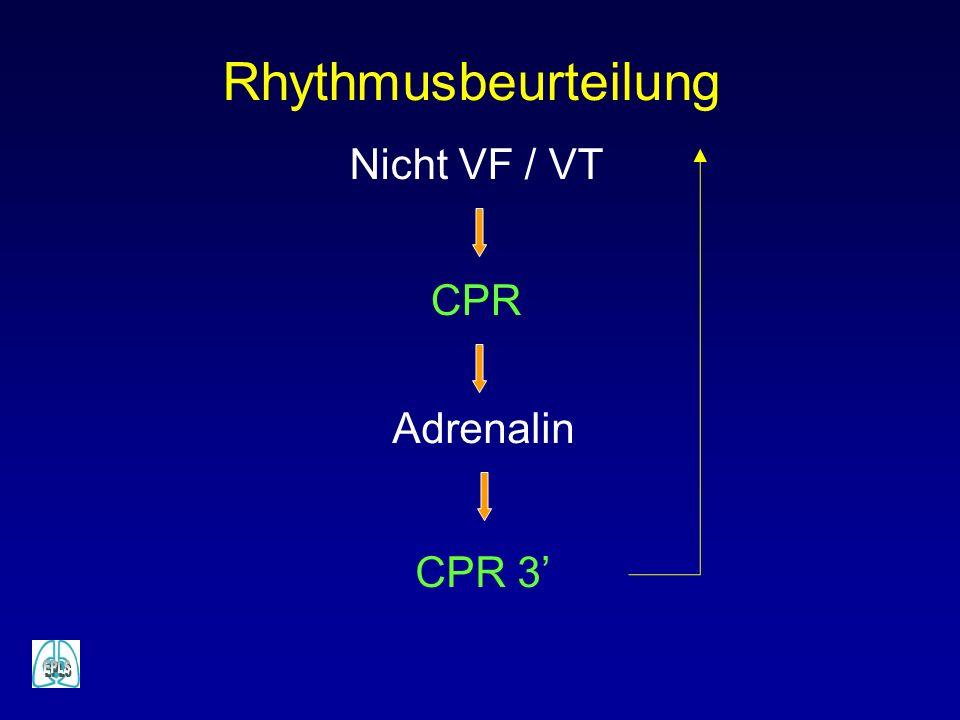 Rhythmusbeurteilung Nicht VF / VT CPR Adrenalin CPR 3'