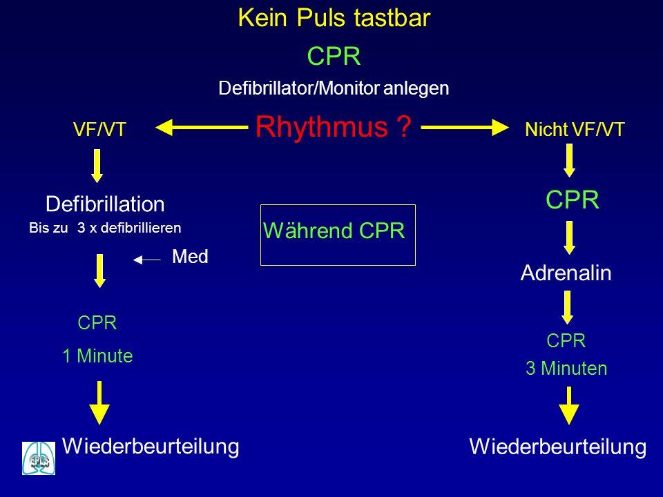 Rhythmus Kein Puls tastbar CPR CPR Defibrillation Während CPR
