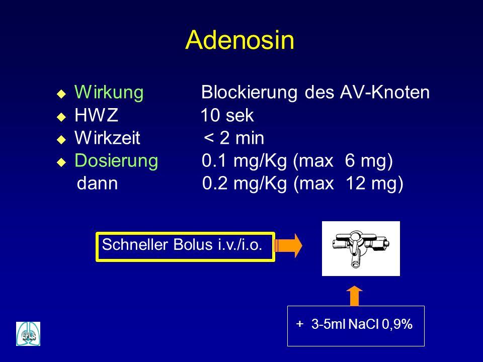 Adenosin Wirkung Blockierung des AV-Knoten HWZ 10 sek