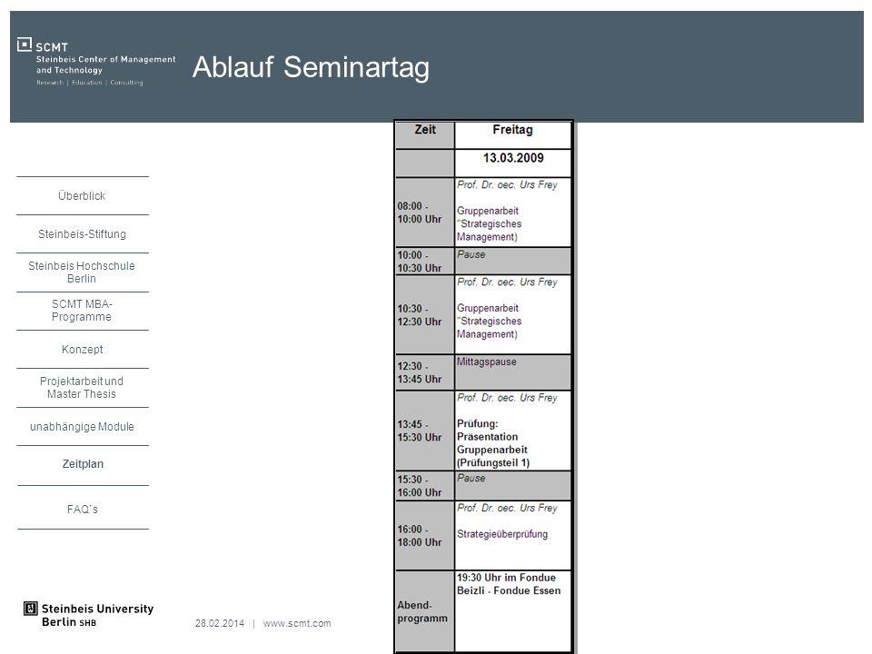 Ablauf Seminartag Zeitplan