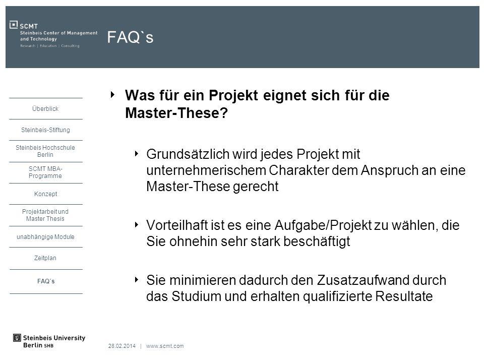 FAQ`s Was für ein Projekt eignet sich für die Master-These