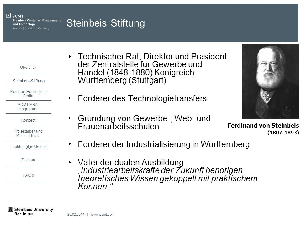 Steinbeis Stiftung Technischer Rat, Direktor und Präsident der Zentralstelle für Gewerbe und Handel (1848-1880) Königreich Württemberg (Stuttgart)