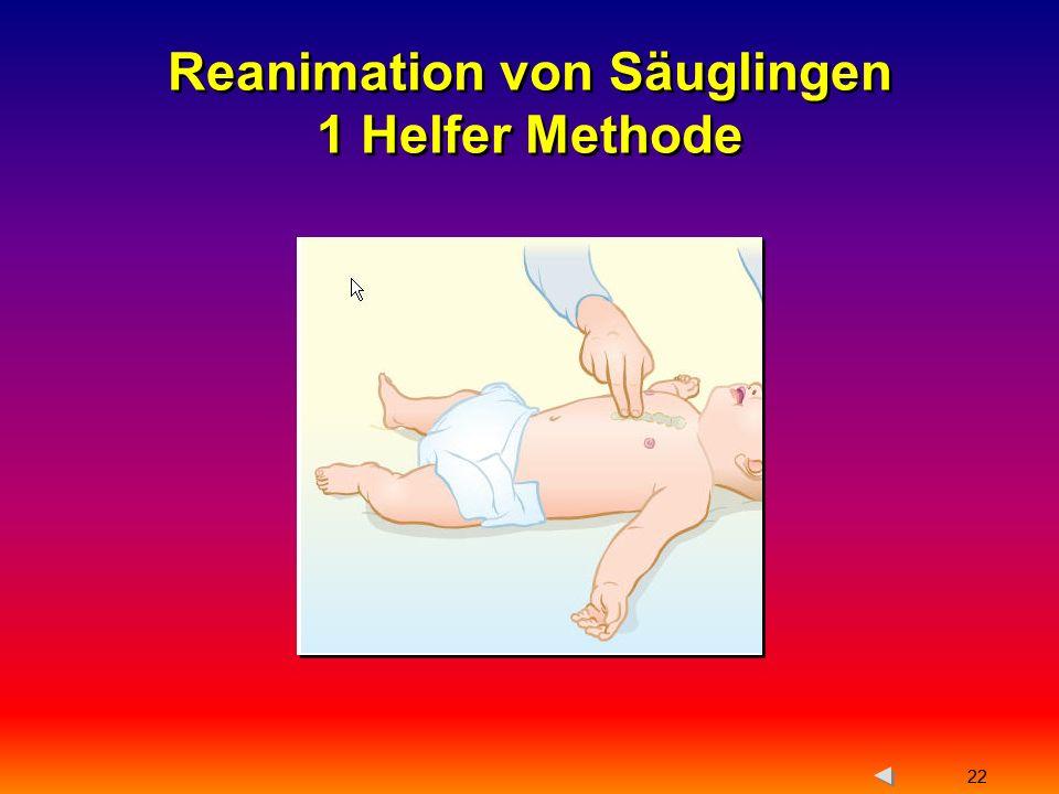 Reanimation von Säuglingen 1 Helfer Methode