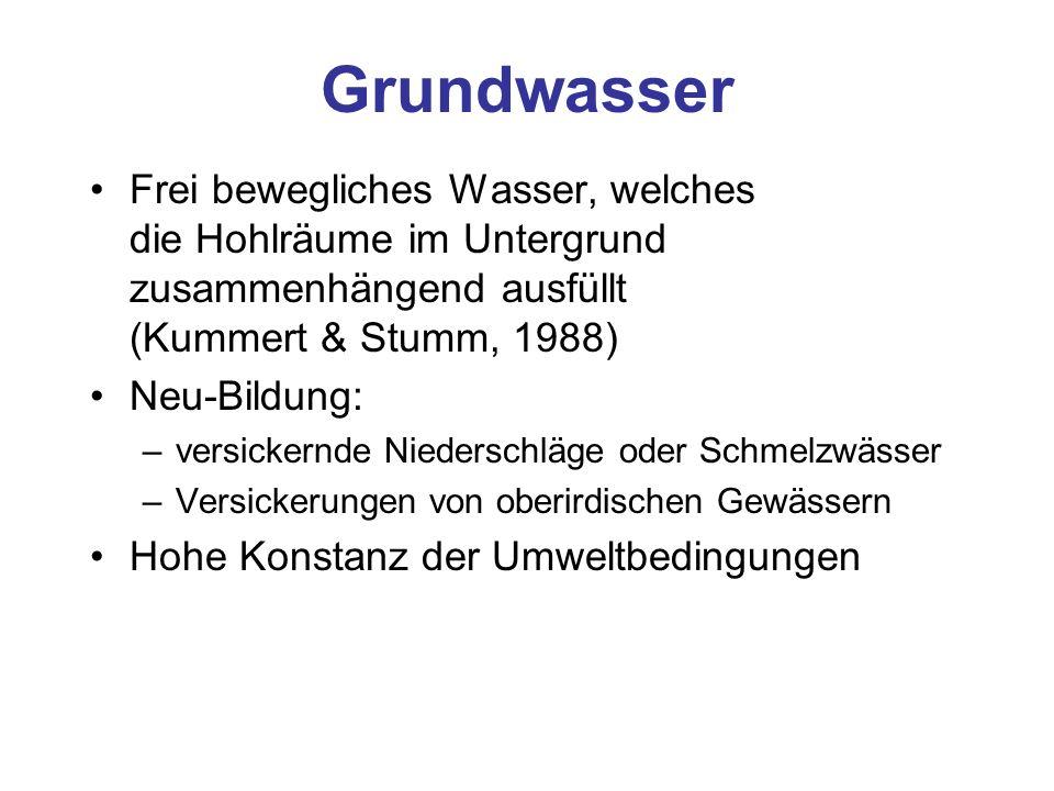 Grundwasser Frei bewegliches Wasser, welches die Hohlräume im Untergrund zusammenhängend ausfüllt (Kummert & Stumm, 1988)