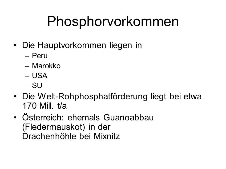 Phosphorvorkommen Die Hauptvorkommen liegen in