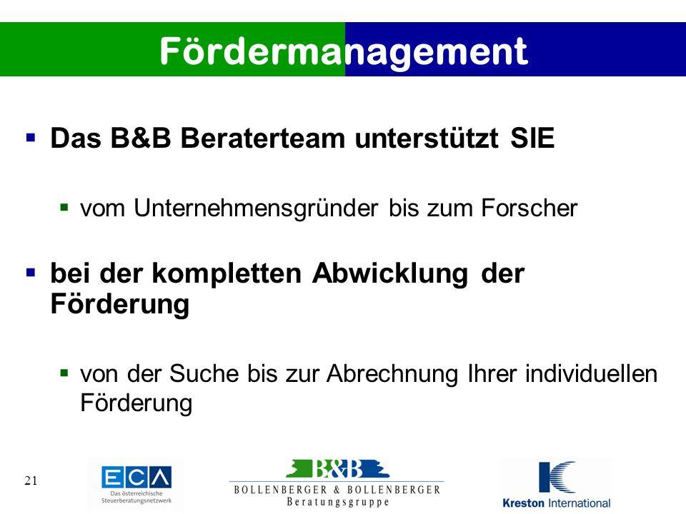 Fördermanagement Das B&B Beraterteam unterstützt SIE
