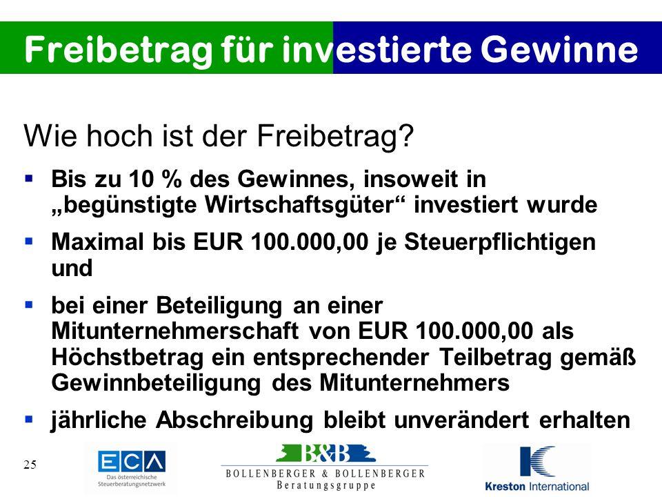 Freibetrag für investierte Gewinne