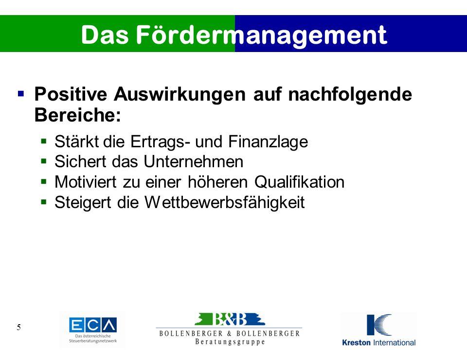 Das Fördermanagement Positive Auswirkungen auf nachfolgende Bereiche: