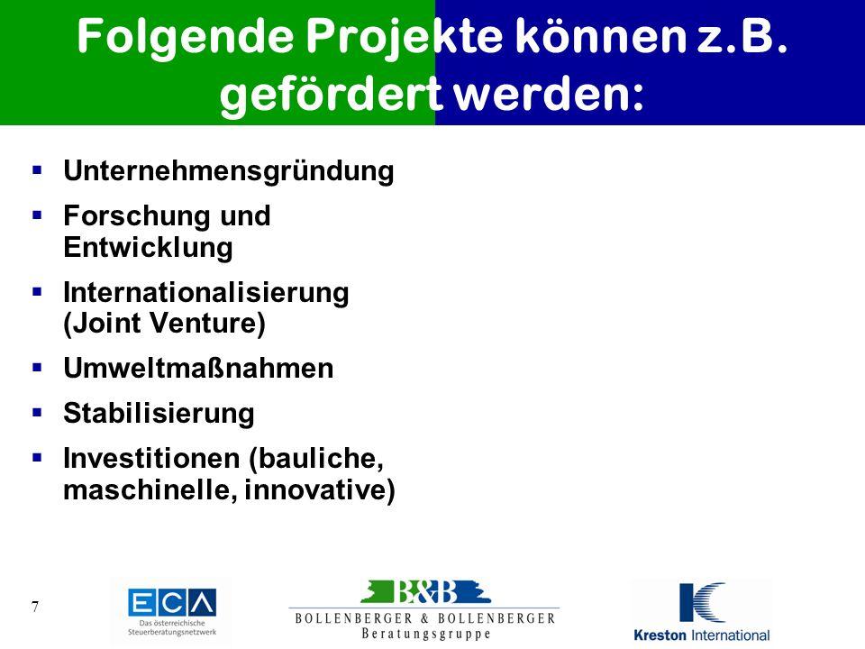 Folgende Projekte können z.B. gefördert werden: