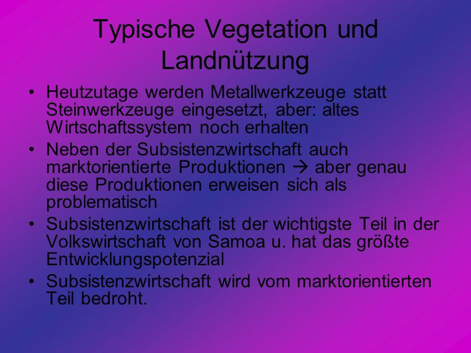 Typische Vegetation und Landnützung