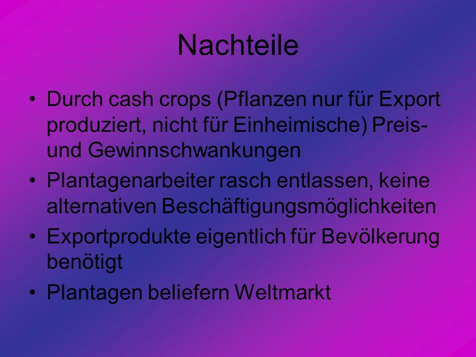 Nachteile Durch cash crops (Pflanzen nur für Export produziert, nicht für Einheimische) Preis- und Gewinnschwankungen.