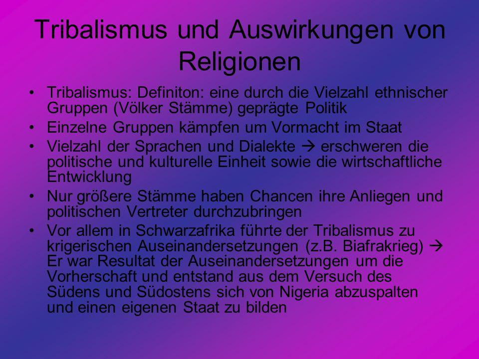 Tribalismus und Auswirkungen von Religionen