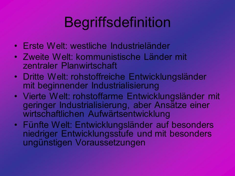 Begriffsdefinition Erste Welt: westliche Industrieländer