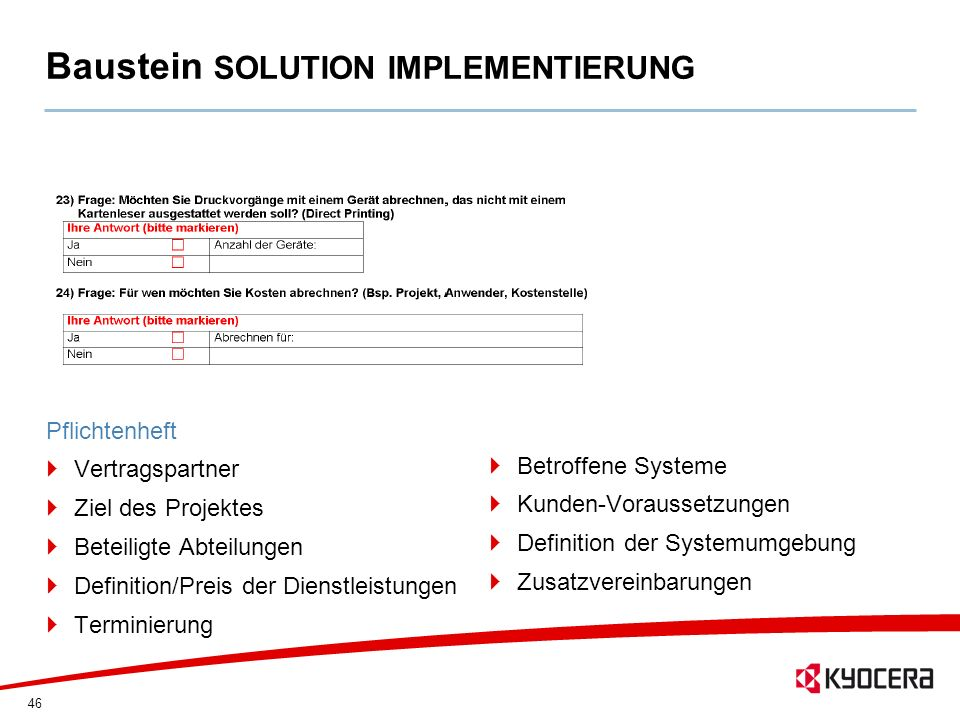 Baustein SOLUTION IMPLEMENTIERUNG