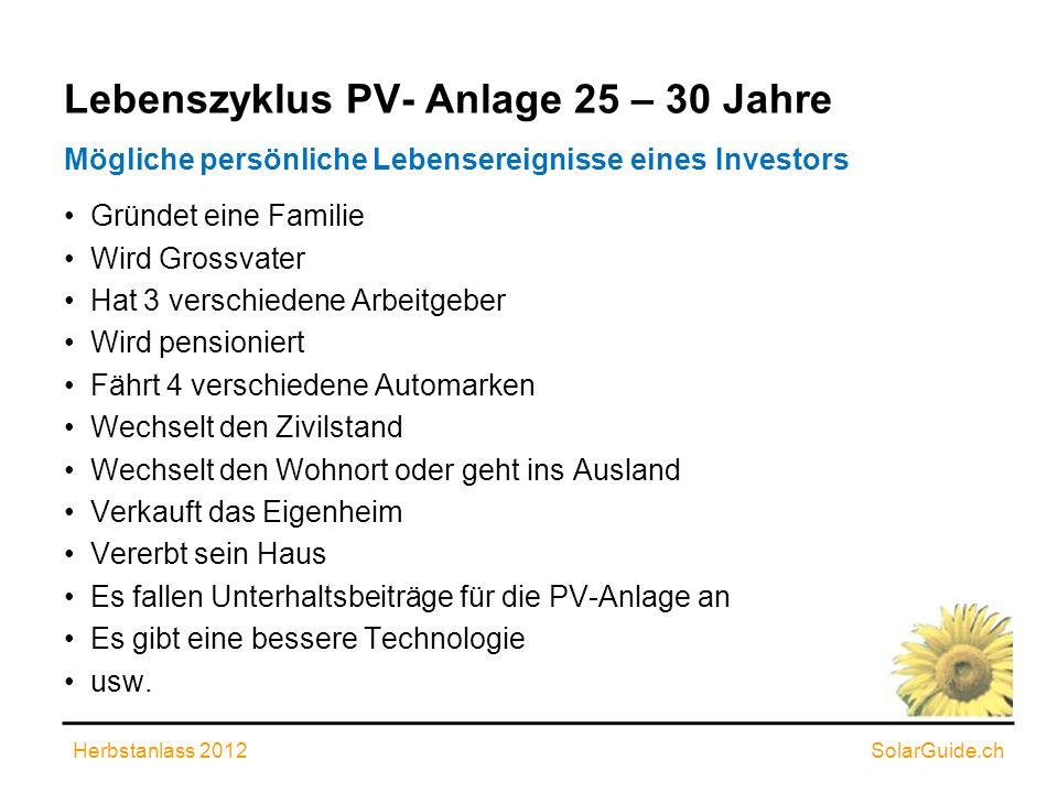 Lebenszyklus PV- Anlage 25 – 30 Jahre