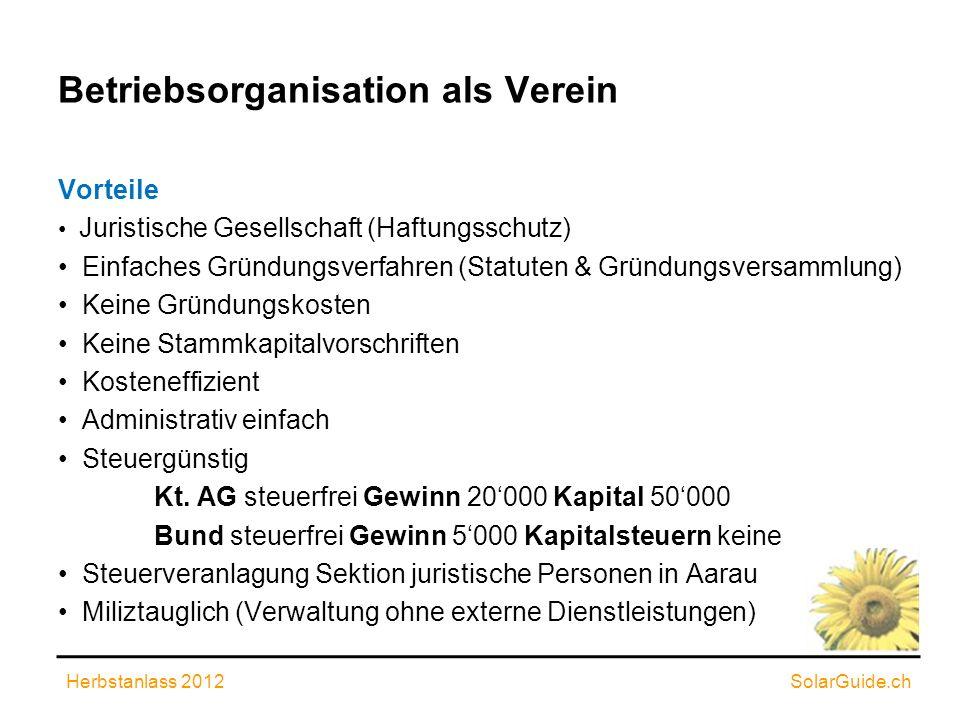 Betriebsorganisation als Verein