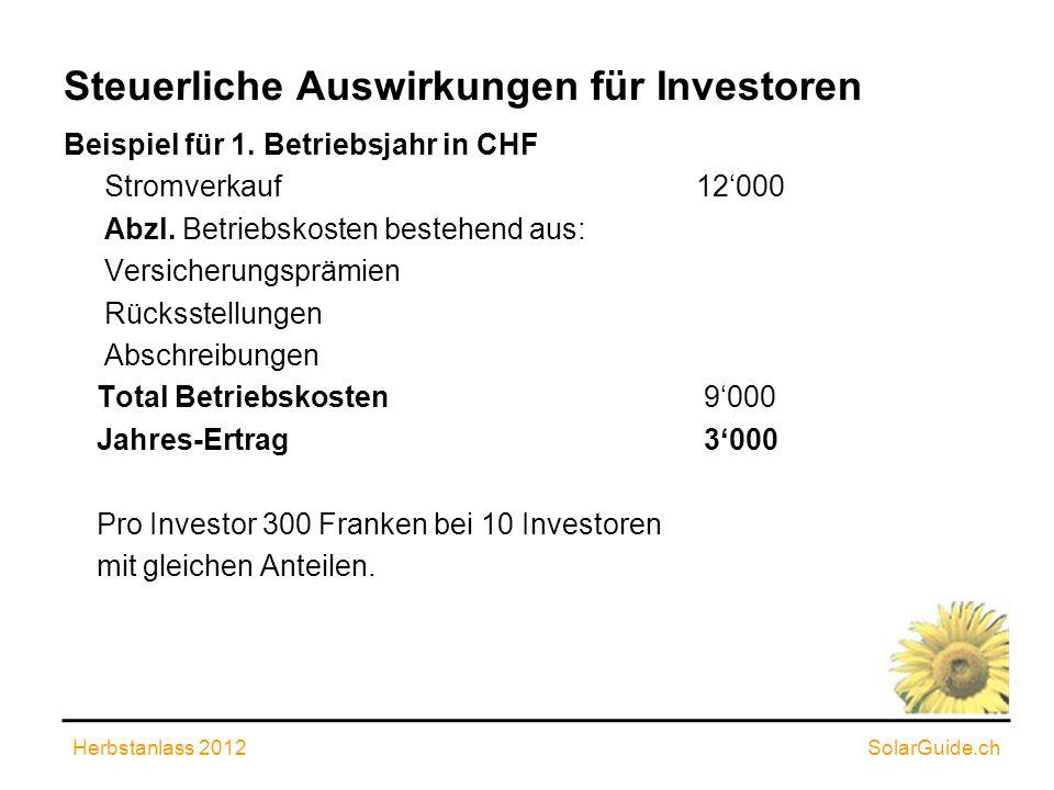 Steuerliche Auswirkungen für Investoren