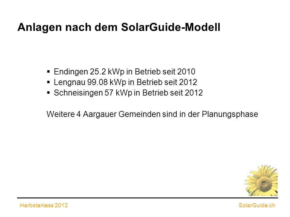 Anlagen nach dem SolarGuide-Modell