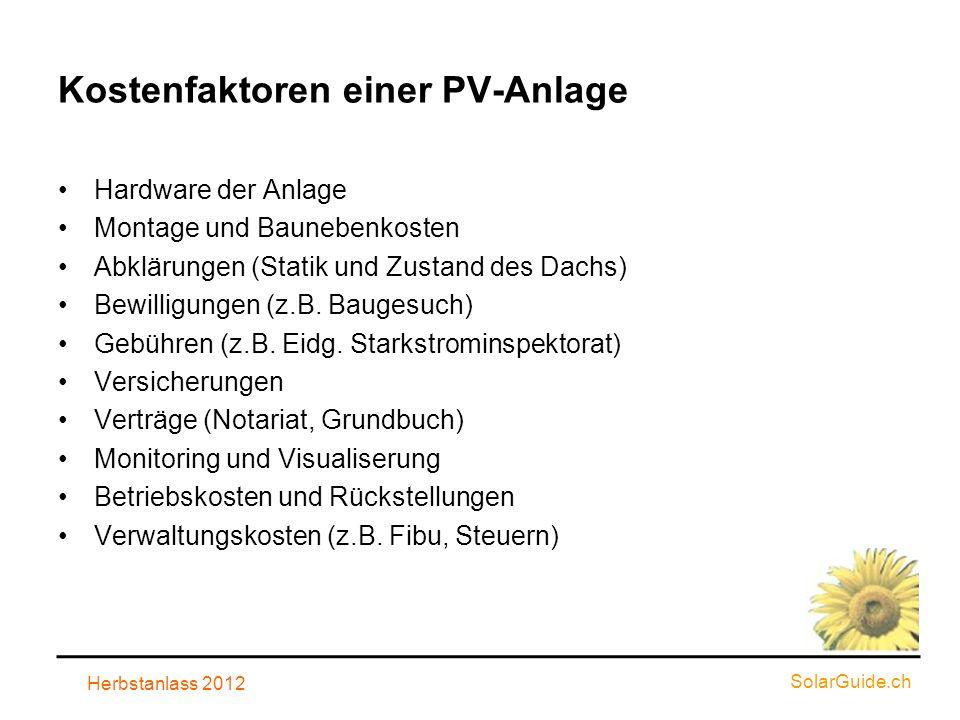 Kostenfaktoren einer PV-Anlage