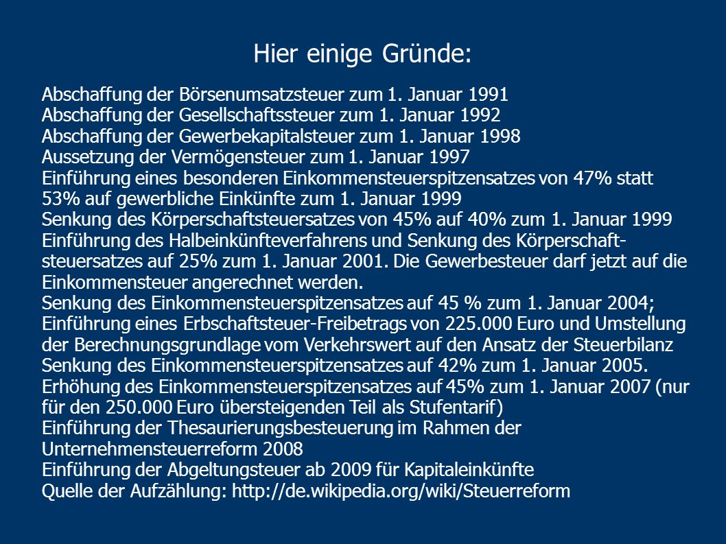 Hier einige Gründe:Abschaffung der Börsenumsatzsteuer zum 1. Januar 1991. Abschaffung der Gesellschaftssteuer zum 1. Januar 1992.