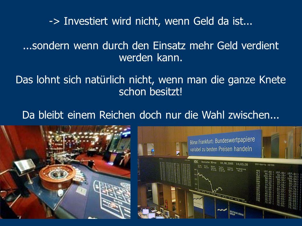 -> Investiert wird nicht, wenn Geld da ist...