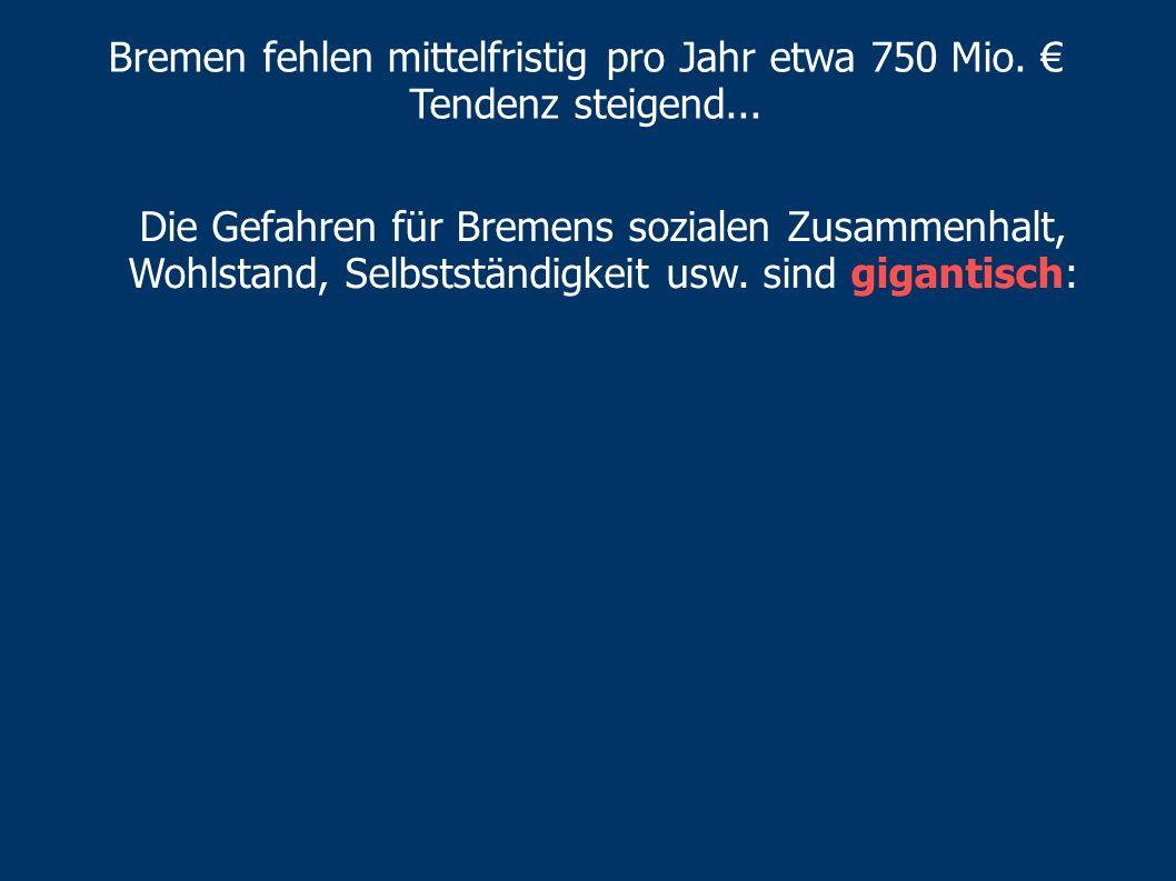 Bremen fehlen mittelfristig pro Jahr etwa 750 Mio. €