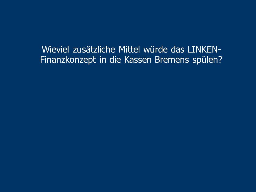 Wieviel zusätzliche Mittel würde das LINKEN-Finanzkonzept in die Kassen Bremens spülen