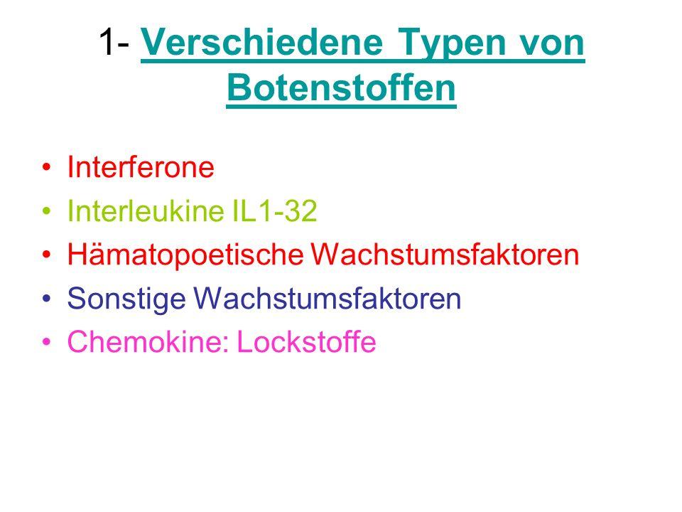 1- Verschiedene Typen von Botenstoffen