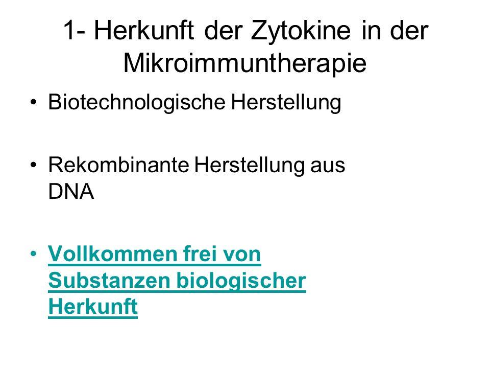 1- Herkunft der Zytokine in der Mikroimmuntherapie