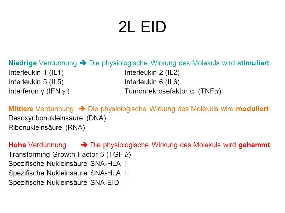 2L EID Niedrige Verdünnung  Die physiologische Wirkung des Moleküls wird stimuliert. Interleukin 1 (IL1) Interleukin 2 (IL2)