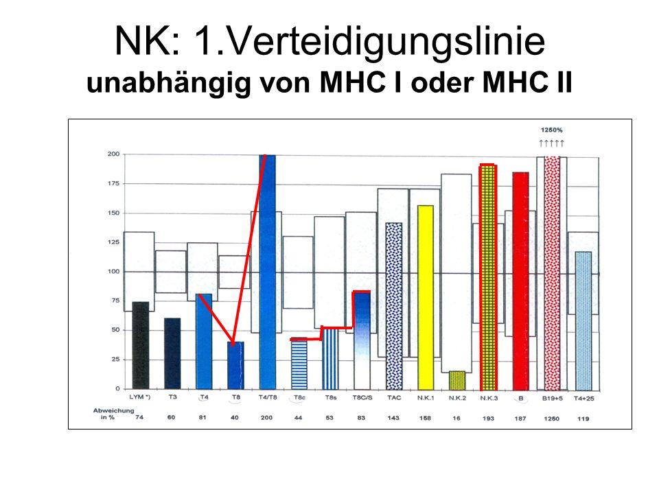 NK: 1.Verteidigungslinie unabhängig von MHC I oder MHC II