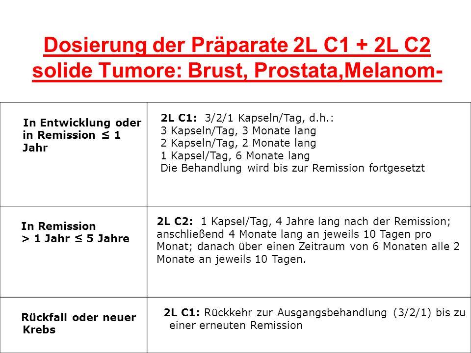 Dosierung der Präparate 2L C1 + 2L C2 solide Tumore: Brust, Prostata,Melanom-