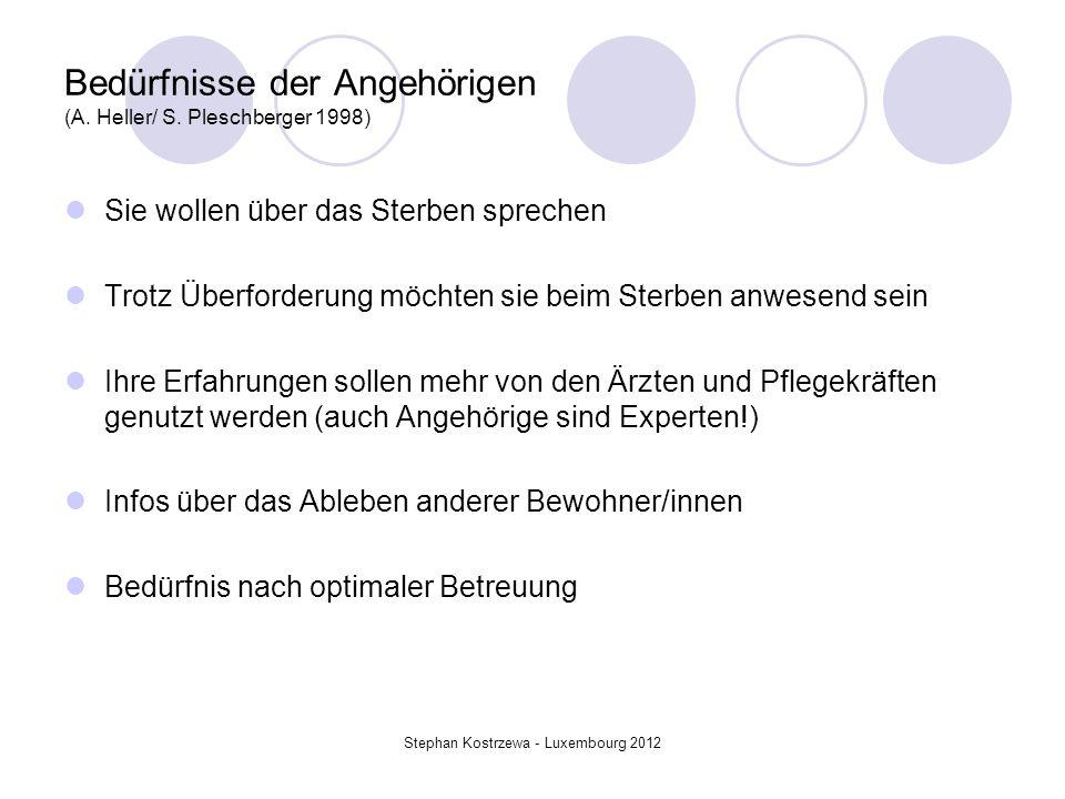 Bedürfnisse der Angehörigen (A. Heller/ S. Pleschberger 1998)
