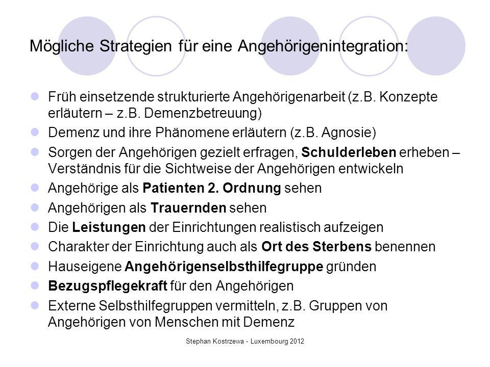 Mögliche Strategien für eine Angehörigenintegration: