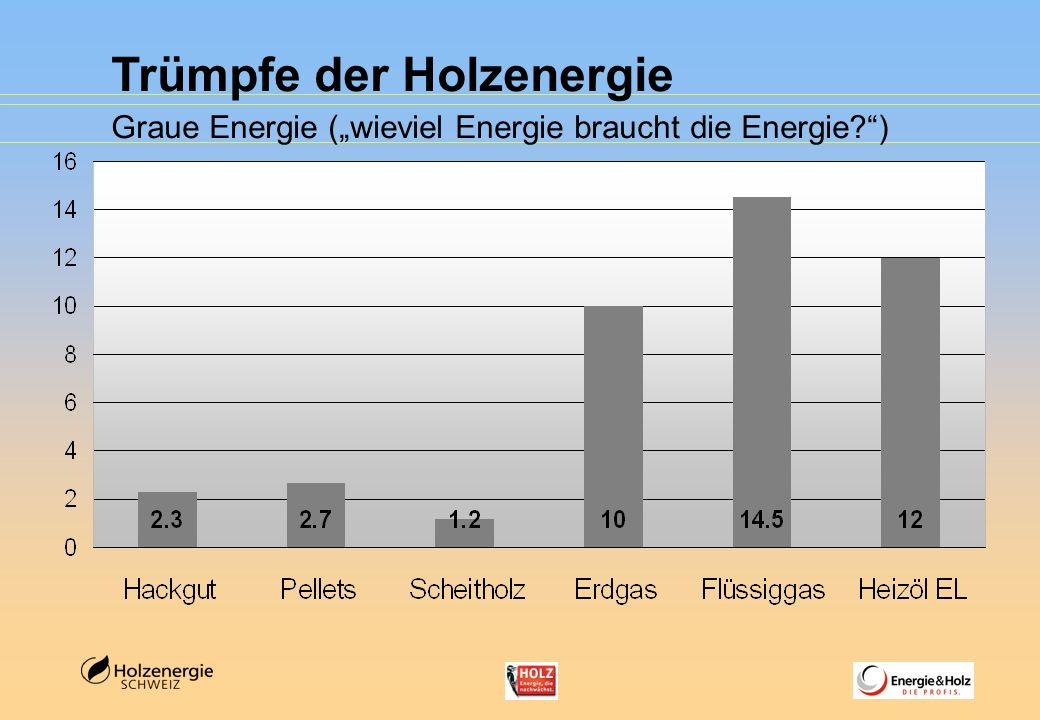 "Trümpfe der Holzenergie Graue Energie (""wieviel Energie braucht die Energie )"