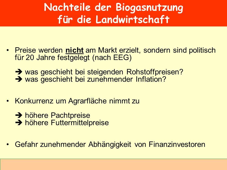 Nachteile der Biogasnutzung für die Landwirtschaft