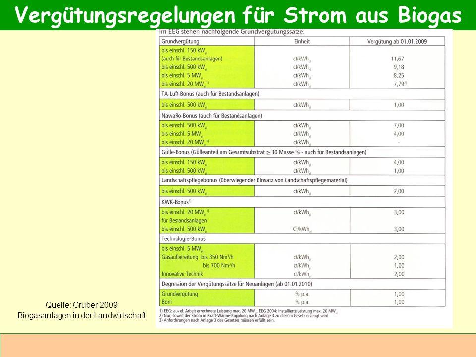 Vergütungsregelungen für Strom aus Biogas