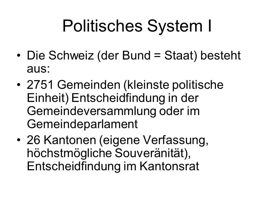 Politisches System I Die Schweiz (der Bund = Staat) besteht aus: