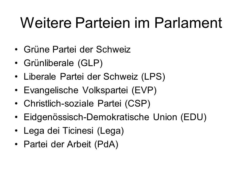 Weitere Parteien im Parlament