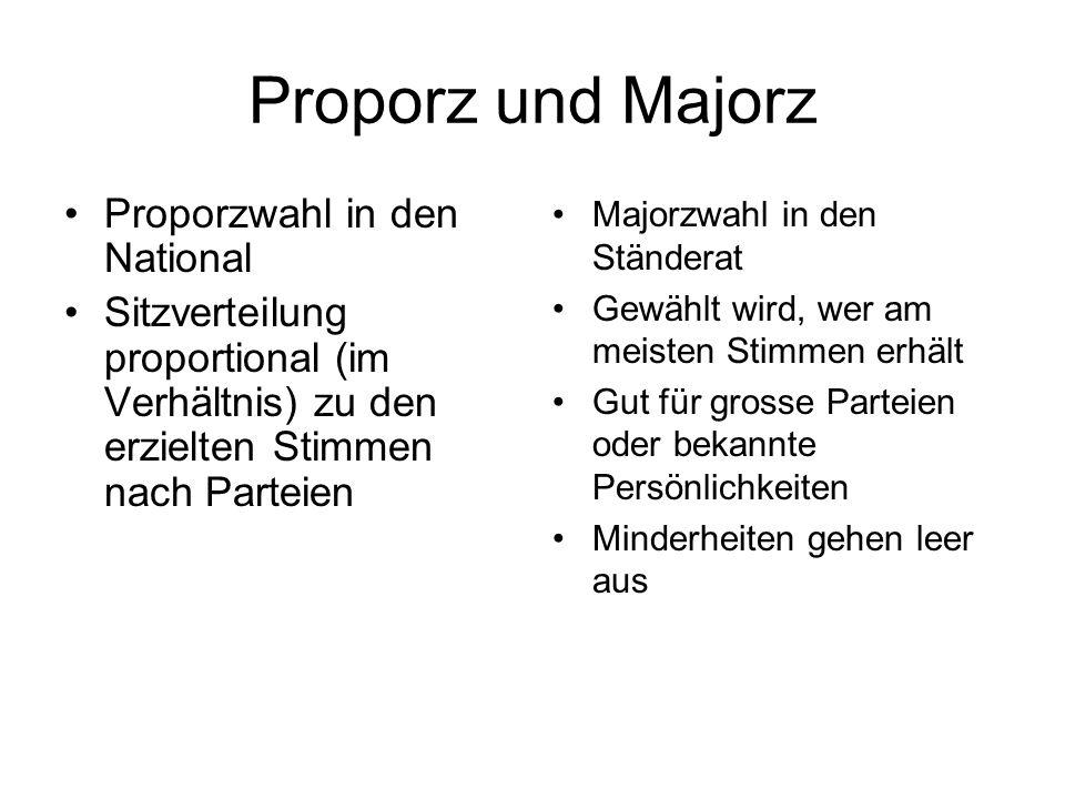 Proporz und Majorz Proporzwahl in den National