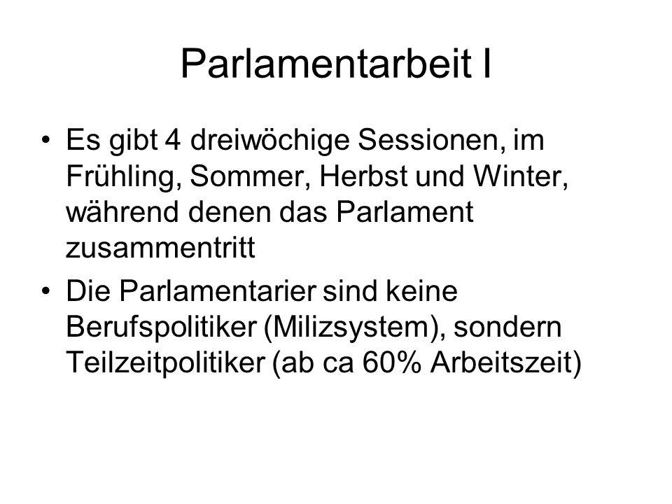 Parlamentarbeit I Es gibt 4 dreiwöchige Sessionen, im Frühling, Sommer, Herbst und Winter, während denen das Parlament zusammentritt.