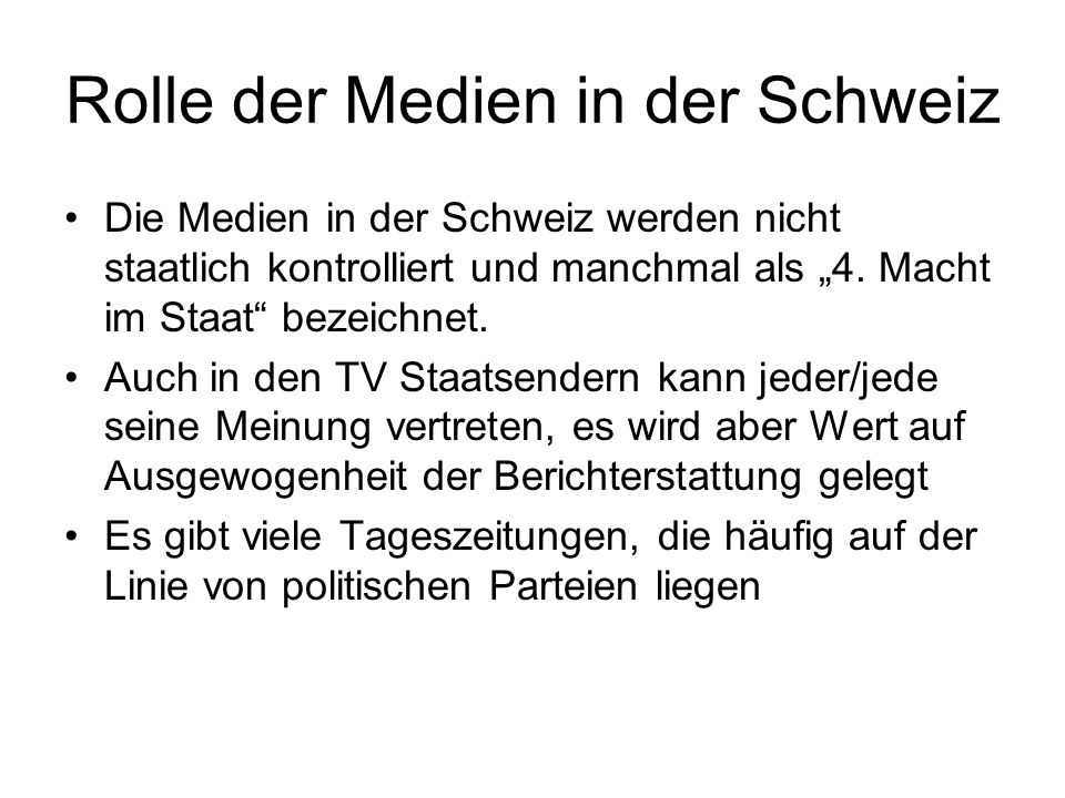 Rolle der Medien in der Schweiz