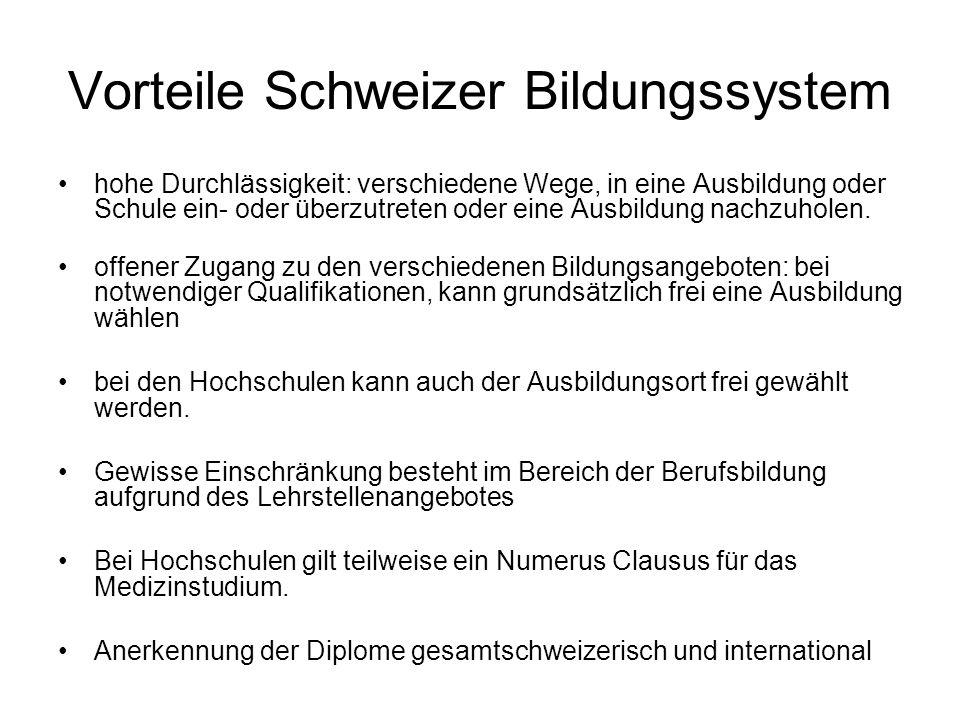 Vorteile Schweizer Bildungssystem