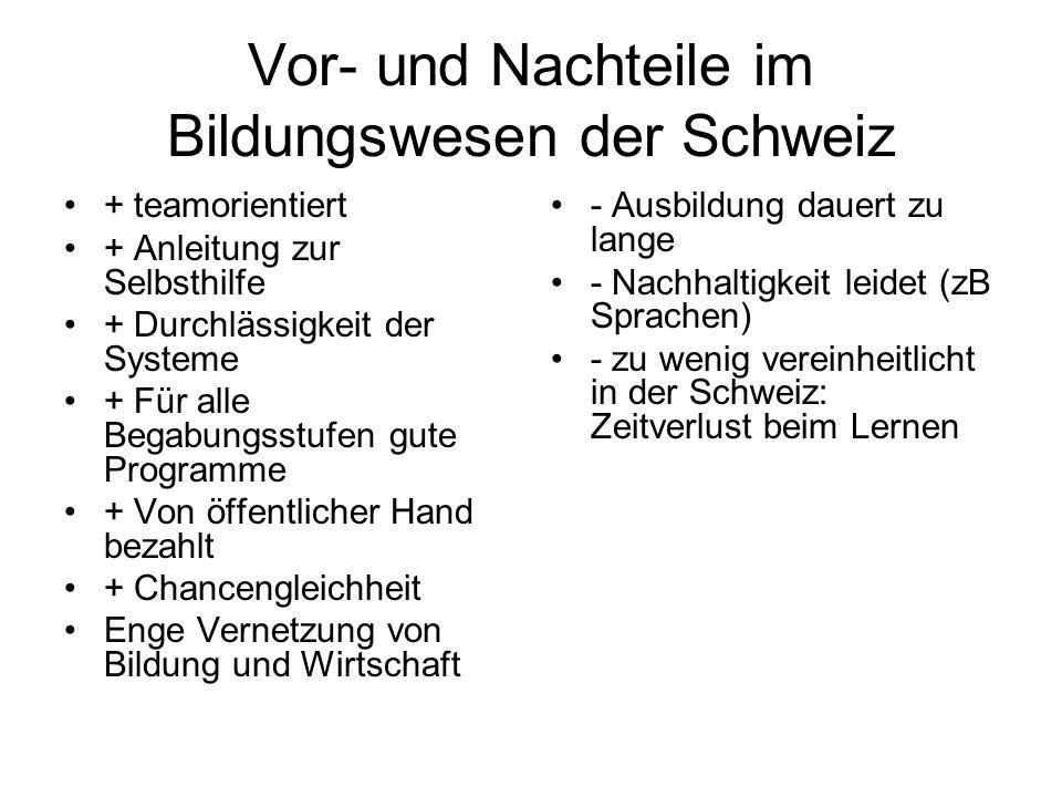 Vor- und Nachteile im Bildungswesen der Schweiz