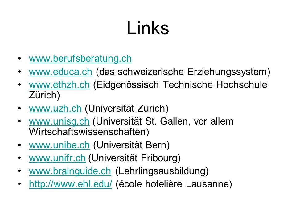 Links www.berufsberatung.ch