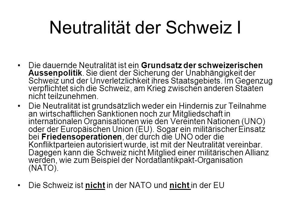 Neutralität der Schweiz I