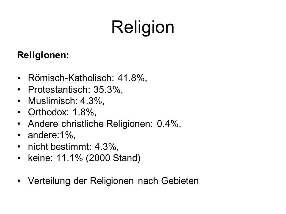 Religion Religionen: Römisch-Katholisch: 41.8%, Protestantisch: 35.3%,