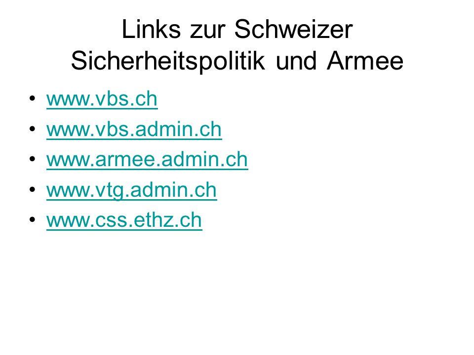 Links zur Schweizer Sicherheitspolitik und Armee