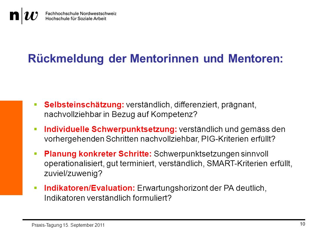 Rückmeldung der Mentorinnen und Mentoren: