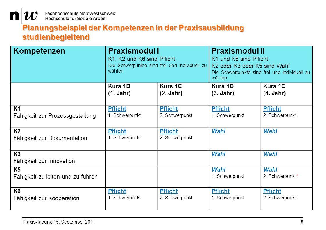Planungsbeispiel der Kompetenzen in der Praxisausbildung studienbegleitend